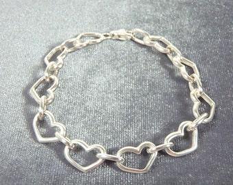 Sterling Silver Heart Link Bracelet B24