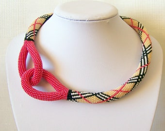 Beaded Crochet Knot Rope Necklace - Beadwork necklace - geometric striped necklace - modern statement necklace - red knot necklace