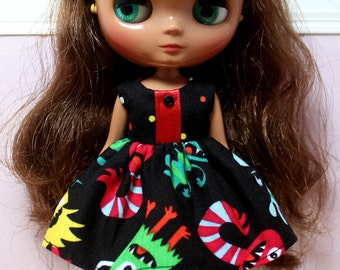 BLYTHE Middie doll Halloween party dress - bright monsters
