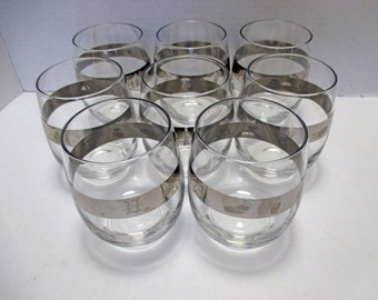 Silver Band Vintage Large Tall Roly Poly Mad Men Printer Typesetting Icon Glasses - Set of 4 (2 Sets Available)