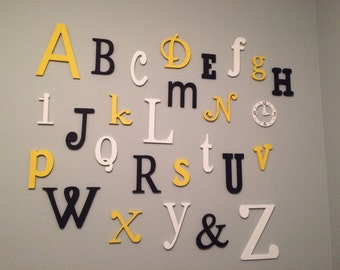 PAINTED Wooden Alphabet Set - Wooden Wall Letters - Alphabet Wall Art- Nursery Decor - mixed fonts and sizes- ABC Wall- Gift- Baby Shower