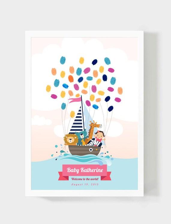 Baby Dusche Gastebuch Madchen Geburtstag Fingerabdruck