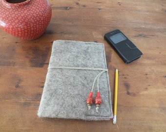 Colorful grey wet felted big A5 Notebook in red with cord and beads