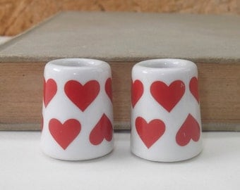 REDUCED Two Vintage Porcelain Dollhouse or Diorama Miniatures, Red Heart Design, Hearts, Vase, Candle Holder, Planter