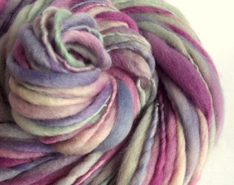 Thick and Thin yarn, chunky wool, pale lavender purples, pinks and pastel blues, bulky knitting yarn, chunky merino knitting wool