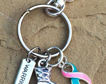 Teal and Pink Ribbon Keychain / Boxing Glove / Thyroid Cancer Survivor / Previvor BRCA Positive / Hereditary Cancer Awareness