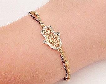 Gold Hamsa Hand Bracelet, Gold Anklet, Baptism Gift, Gold Plated Jewelry, Rhinestone Hamsa, Fashion Accessory, Fatma's Hand Charm, Cheap