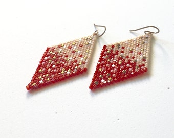 Cube Seed Beaded Dangle Earrings, Cristobal