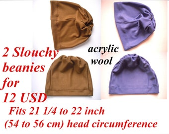 clearance sale, set of 2 wool lightweight slouch beanies for adult or children, fit 21 1/4 to 22 inches (54 - 56 cm) head circumference