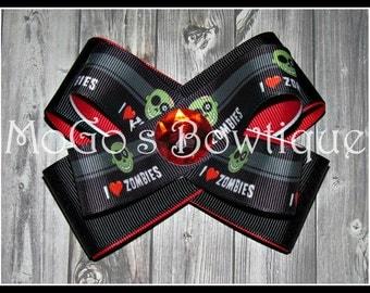 I Love Zombies Ribbon Bow