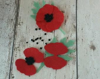 Poppy brooch kit, poppy brooch, red poppy, red poppy brooch, die cut felt, craft kit, gift for her, make your own gift, kits, diy kit, poppy