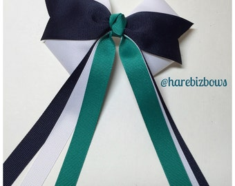 Tri Color White  Navy Green Hair Bow School Team Uniform Cheer Preppy Streamers Tails  Horse Equestrian Show bow