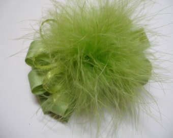 Princess Hair Bow Kiwi Chartreuse Lemon Grass Green Marabou Over the Top Boutique