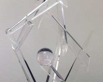 "Lucite Acrylic Sculpture ""Clear Pandora"" 32"" H x 15"" W"