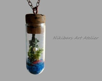 Glass Terrarium Necklace, Miniature Garden Pendant Necklace,