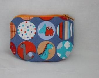 Little Zipper pouch, coin purse Dinosaurs