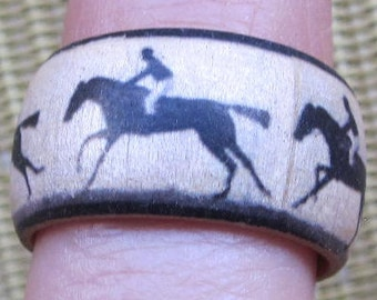 Eadweard Muybridge Running Horse and Rider -- adjustable wood finger ring