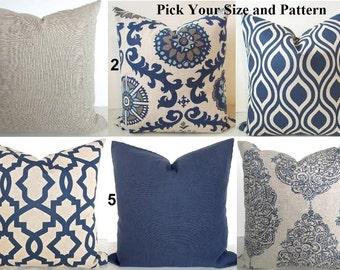 BLUE THROW PILLOWS  Navy Blue Throw Pillow Covers Dark Blue Pillow Covers tan Decorative pillows Blue and Tan Pillows 16x16 18 20 All Sizes