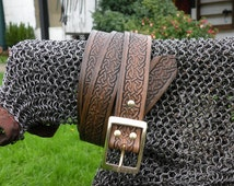 """Hand made Celtic Knot embossed leather belt, 1.5"""" wide strap with solid Brass buckle, made to measure."""