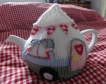Caravan tea cosy cozy knitting pattern pdf, camping retro vintage knitting easy 2 needles, campervan 4-6 cup shabby chic