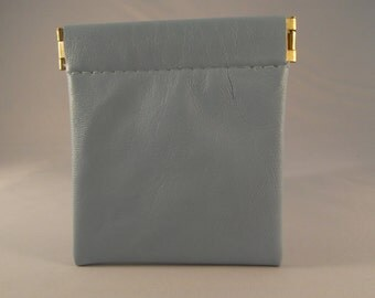 Light Blue Leather Spring Top Purse/Squeeze Top Purse