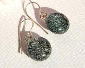 Silver Dangle Earrings - Glass Drop Earrings on Sterling Silver Earwires - Dichroic Glass Silver