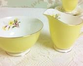 Royal Albert Yellow Oxlip Creamer and Sugar Bowl