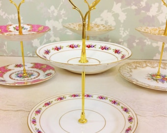 """Pink and Mauve """"Dora"""" Floral 2 Tier Mini Cake Stand"""