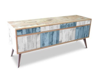 Retro Modern Mid Century Industrial Recycled Shabby Chic Country Farmhouse Sideboard / Buffet / Entertainment Unit in Checkered Blue & White