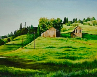 California Farm, 30 x 50, original oil painting on canvas