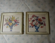 Two Little Vintage Pictures of Flower Bouquets