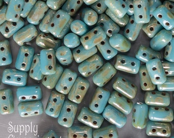 Turquoise Blue Picasso Rulla Beads, 3436, Turquoise Picasso Rulla Bead, 16 grams, 3x5mm Rulla Bead, Blue Picasso ,Turquoise Blue, Rulla Bead
