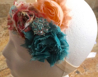 Peach, Teal and Floral Print Shabby Chiffon Headband, Baby Girl Headband, Infant Girl Headband, Newborn Girl Headband, Women Flower Headband