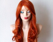 Ginger red wig. Long Wavy hairstyle wig. Durable heat friendly sythetic wig for daily use or Cospkay.