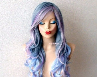 Pastel wig. Blue /Lavender /Pink color wig. Long curly hair wig. Durable quality Heat resistant wig for daily use or Cosplay.