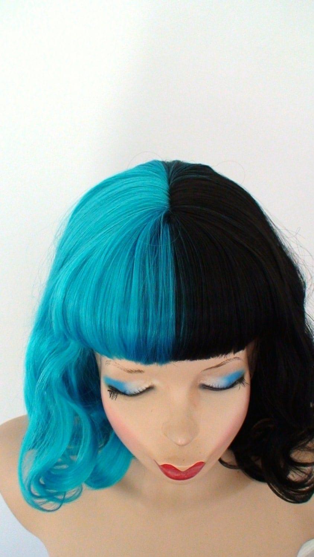Black Teal Blue Wig Half Black Half Teal Blue Wig By