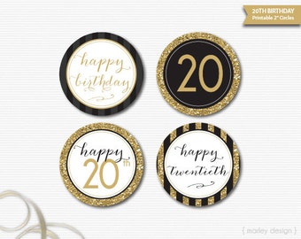 Black Gold Glitter 20th Birthday Decorations Printable Toppers 20th Birthday Cupcake Toppers Happy 20th 20th Birthday Tags 20th Party Decor