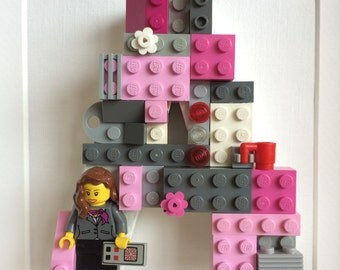 Lego Initial Letters Picture Art Teacher Mothers Day Business Woman Pink Baby Girl Boy Birthday Customised Nursery Children's Bedroom