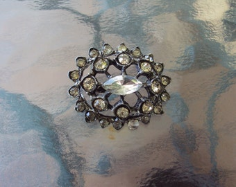 Pot Metal and Rhinestone Brooch - 1920's