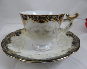 Vintage Occupied Japan Black and Gold Demitasse Cup and Saucer - Spectacular