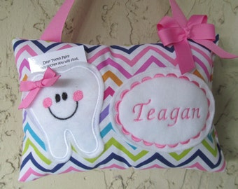 Tooth Fairy Pillow Personalized Chevron Multi