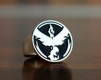 Pokemon Ring. Team Valor. Pokemon Go Ring. Team Valor Ring. Jewelry. Silver Ring. Engaved Ring