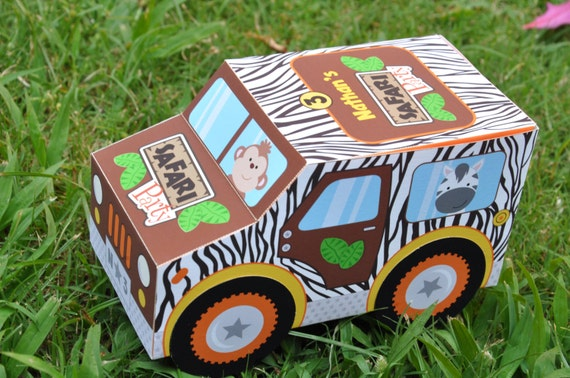 Jungle Safari Animal Party Jeep Truck Favor Box