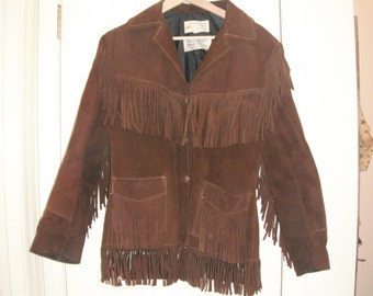 Vintage Simco fringed suede leather coat