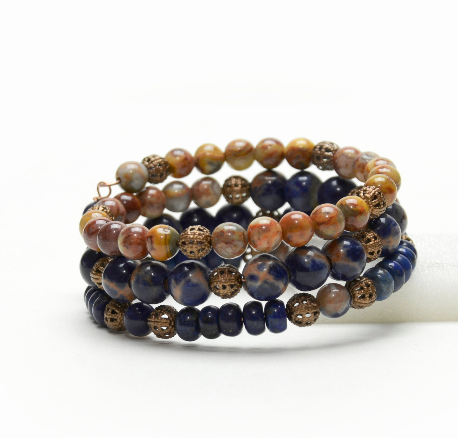 orange and blue gemstone memory wire bracelet with