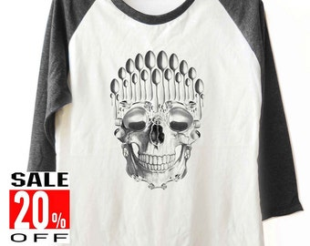 Spoon Skull shirt graphic tee funny tops baseball shirt women tops men tops teen girls size S M L