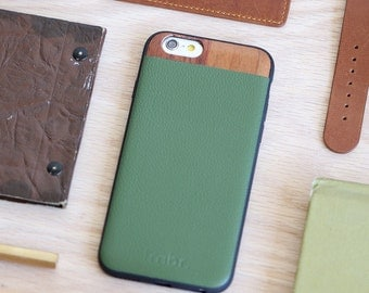 iPhone 6 Plus Leather Case, iPhone 6s Plus Case with Green Leather - LTR-GR-I6P