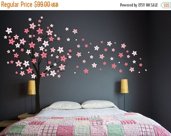 Blossom Tree Extra Large Wall Decal Japanese Cherry Blossom: Tree Wall Decal Pink Cherry Blossom Wall Decal By