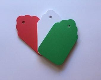Red tags, Green tag, Large 4 x 2.25 inches,Holiday tag, Christmas gift tag, Hang tag, Scalloped tag