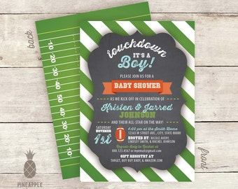 Chalkboard Inspired Football Baby Shower Invitations - Touchdown it's a boy!